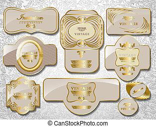 ensemble, or, vendange, étiquette, retro, blanc
