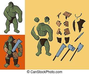 ensemble, orcs, équipement, v1., fort, orc