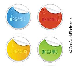 ensemble, organique, étiquettes, créatif, boucle, signe
