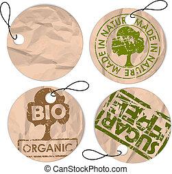 ensemble, organique, étiquettes, nourriture, grunge, rond