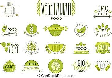 ensemble, organique, gluten, nourriture, végétarien, étiquettes, text., emballage, eating., sain, emblèmes, vecteur, produits, free., naturel, nutrition.