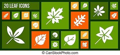 ensemble, organique, icônes, vecteur, silhouette, blanc,...