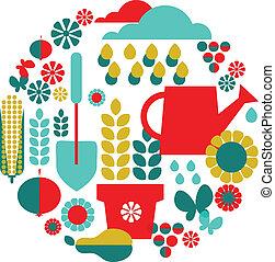 ensemble, organique, jardin, fond, objects;