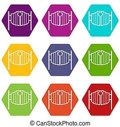 ensemble, oscillation, couleur, vendange, hexahedron, occidental, portes, bar, icône