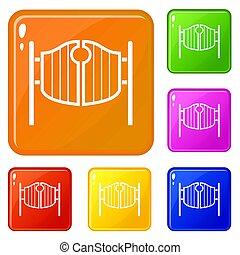 ensemble, oscillation, icônes, couleur, vendange, occidental, portes, bar
