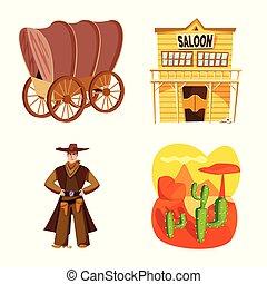 ensemble, ouest, signe., web., illustration, américain, vecteur, sauvage, symbole, stockage