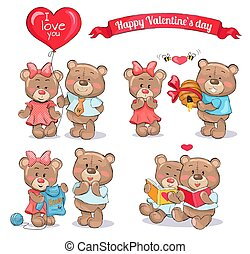 ensemble, ours nounours, valentines, couples, jour, heureux
