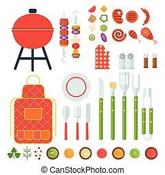 ensemble, outils, barbecue