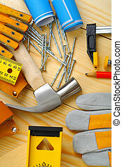 ensemble, outils, charpenterie