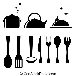ensemble, outils, cuisine
