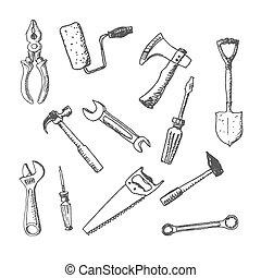 ensemble, outils, fonctionnement, icône