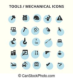 ensemble, outils, icônes