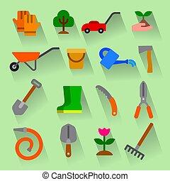 ensemble, outils, jardin, icône