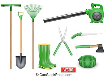 ensemble, outils, jardin