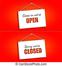 ensemble, ouvert, signes, arrière-plan., clair, papier, rouges, portes, pendre, signes, carte, fermé