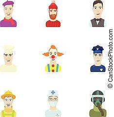 ensemble, ouvriers, icônes, style, dessin animé