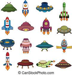 ensemble, ovnis, fusée, icônes