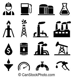 ensemble, pétrole, huile, icône