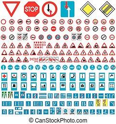 ensemble, panneaux signalisations