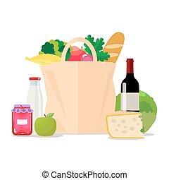 ensemble, papier, lait, style, légumes, isolé, vecteur, fruits, jam., plat, achats, supermarché, nourriture., illustration, store., épicerie, sain, eps10., sac, ou, fromage, vin