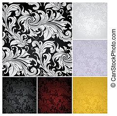 ensemble, papier peint, seamless, modèle, couleurs, six