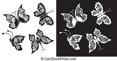 ensemble, papillons, silhouette