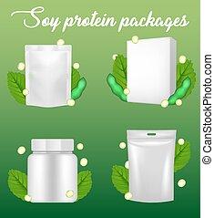 ensemble, paquet, mockup, réaliste, vecteur, protéine soja