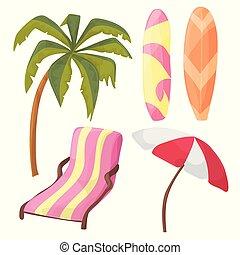 ensemble, parapluie, équipement, -, arbre, chaise longue,...
