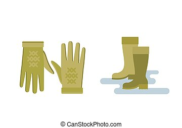 ensemble, parapluie, articles, jaune, temps, illustration, automne, couleurs, vecteur, gants, chaussettes, bottes, automne, collection, froid, vêtements, chapeau, écharpe, rouges