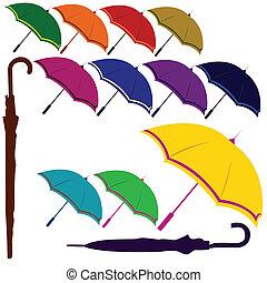ensemble, parapluie, coloré
