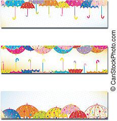 ensemble, parapluie, coloré, pluie, automne, bannière