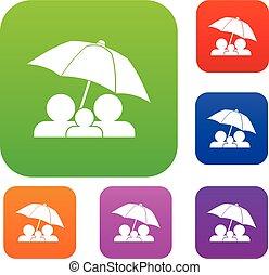 ensemble, parapluie, famille, collection, sous
