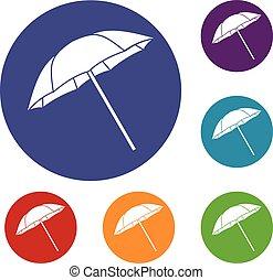 ensemble, parapluie, icônes