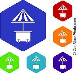 ensemble, parapluie, icônes, mobile, vente, charrette, nourriture