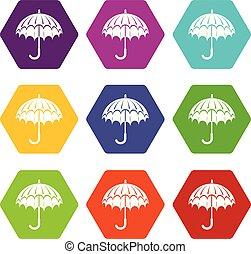 ensemble, parapluie, ouvert, icônes, vecteur, 9