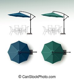 ensemble, parapluie, restaurant, café extérieur, plage