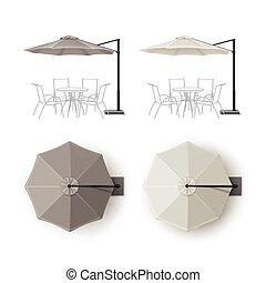 ensemble, parapluie, restaurant, extérieur, rond, patio
