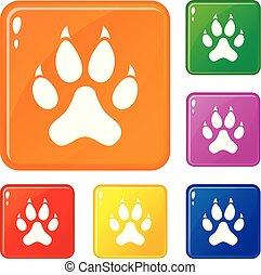 ensemble, patte, couleur, icônes, chat, vecteur