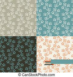 ensemble, patterns., seamless, quatre, retro, floral