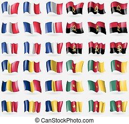 ensemble, pays, angola, tchad, france, vecteur, drapeaux, 36, cameroon., world.