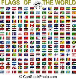 ensemble, pays, souverain, signé, etats, drapeaux, noms, mondiale