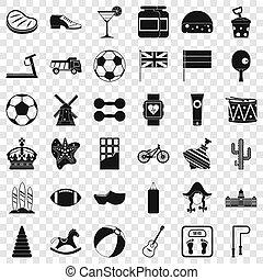 ensemble, pays, style, icônes simples