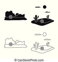 ensemble, paysage nature, signe., web., symbole, vecteur, stockage, environnement, illustration