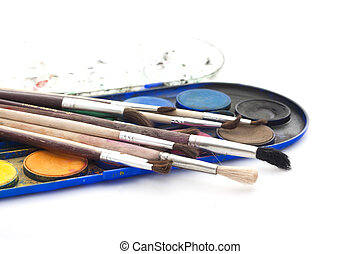 ensemble, peintures, brosses, aquarelle, fond, blanc
