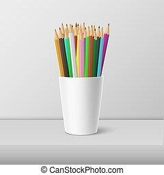 ensemble, pencils., vide, gabarit, clipart, mockup, -, isolé, plastique, arrière-plan., cup-stand, blanc, app., toile, closeup, graphiques, devant, coloré, réaliste, vecteur, icône, conception, ou, vue