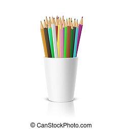 ensemble, pencils., vide, gabarit, clipart, mockup, réflexion., -, plastique, cup-stand, blanc, app., toile, closeup, fond, graphiques, devant, coloré, réaliste, vecteur, icône, conception, ou, vue