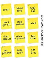 ensemble, pensée, positif, motivation, messages, papier, feuilles