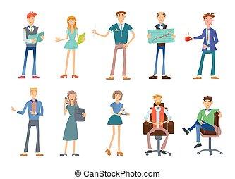 ensemble, personnel, professionnels, compagnie, illustration, vecteur, white., wear., désinvolte