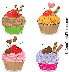 ensemble, petits gâteaux, délicieux, isolé