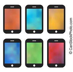ensemble, phones., coloré, mobile, papier peint, arrière-plans, brouillé